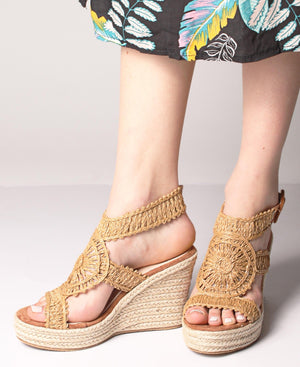 Espadrille Wedge Sandals - Camel