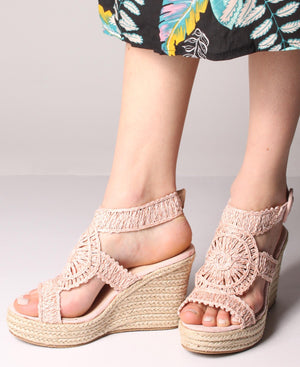 Espadrille Wedge Sandals - Pink