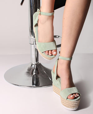 Espadrille Wedge Sandals - Green