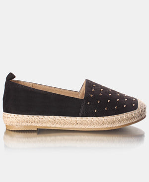 Studded Front Espadrille Pumps - Black