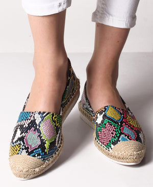 Printed Espadrille Pumps - Black