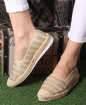 Printed Espadrille Pumps - Gold