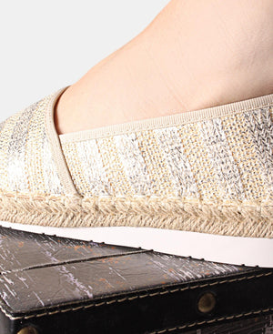 Printed Espadrille Pumps - Silver
