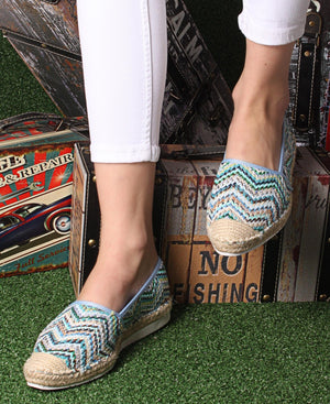 Printed Espadrille Pumps - Blue