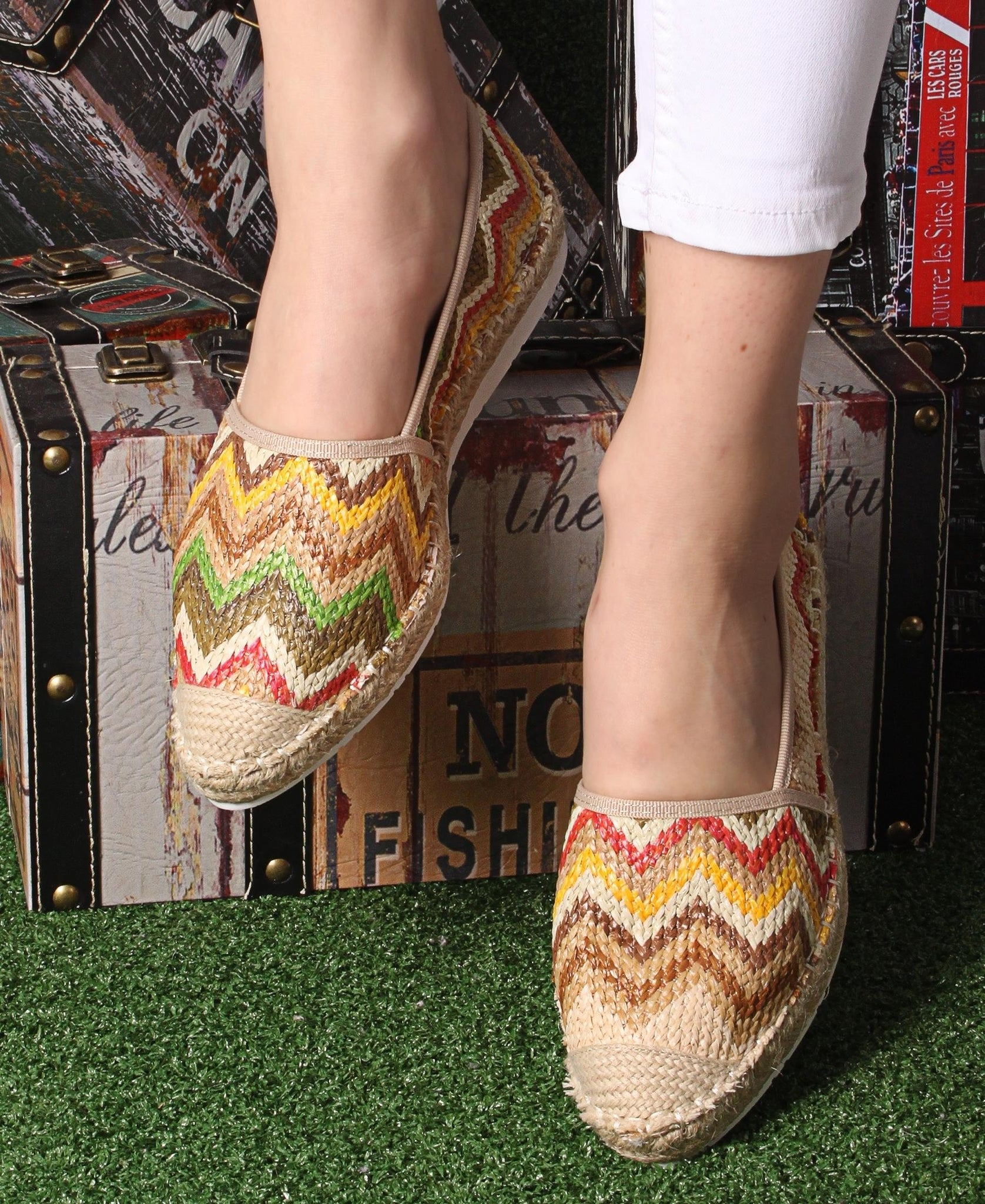 Printed Espadrille Pumps - Yellow