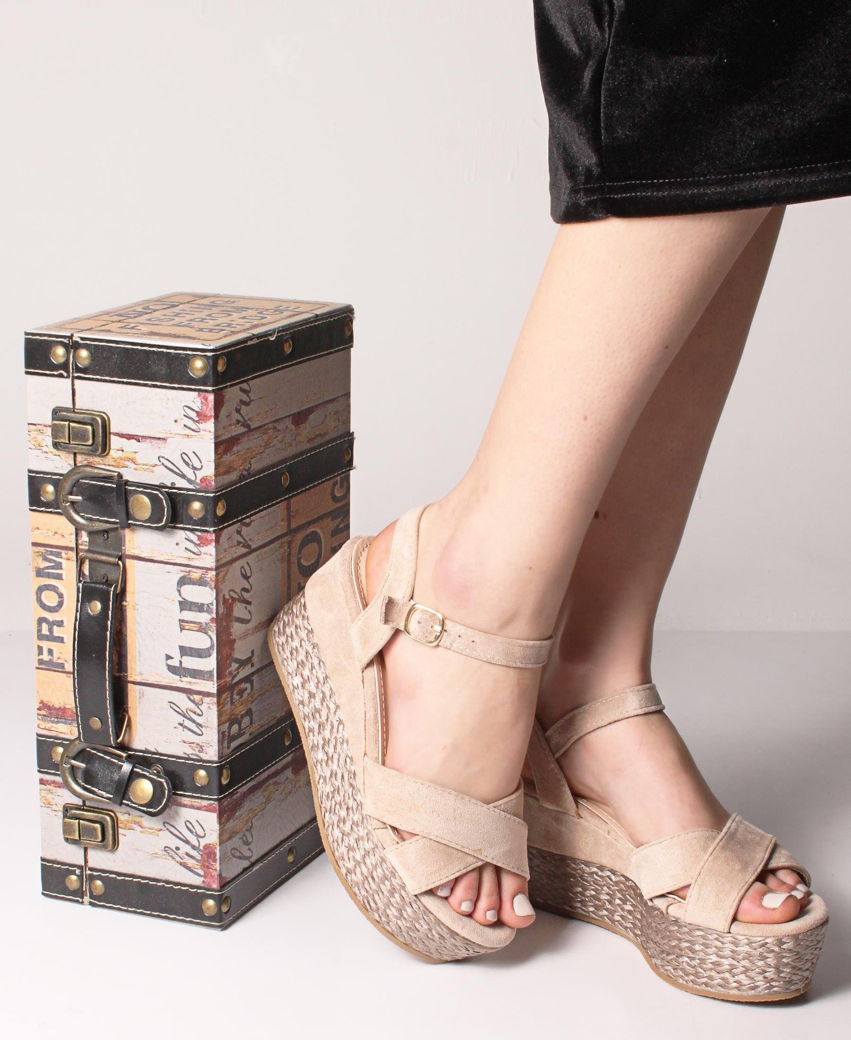 Espadrille Wedge Sandals - Beige