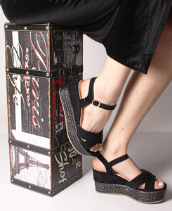 Espadrille Wedge Sandals - Black