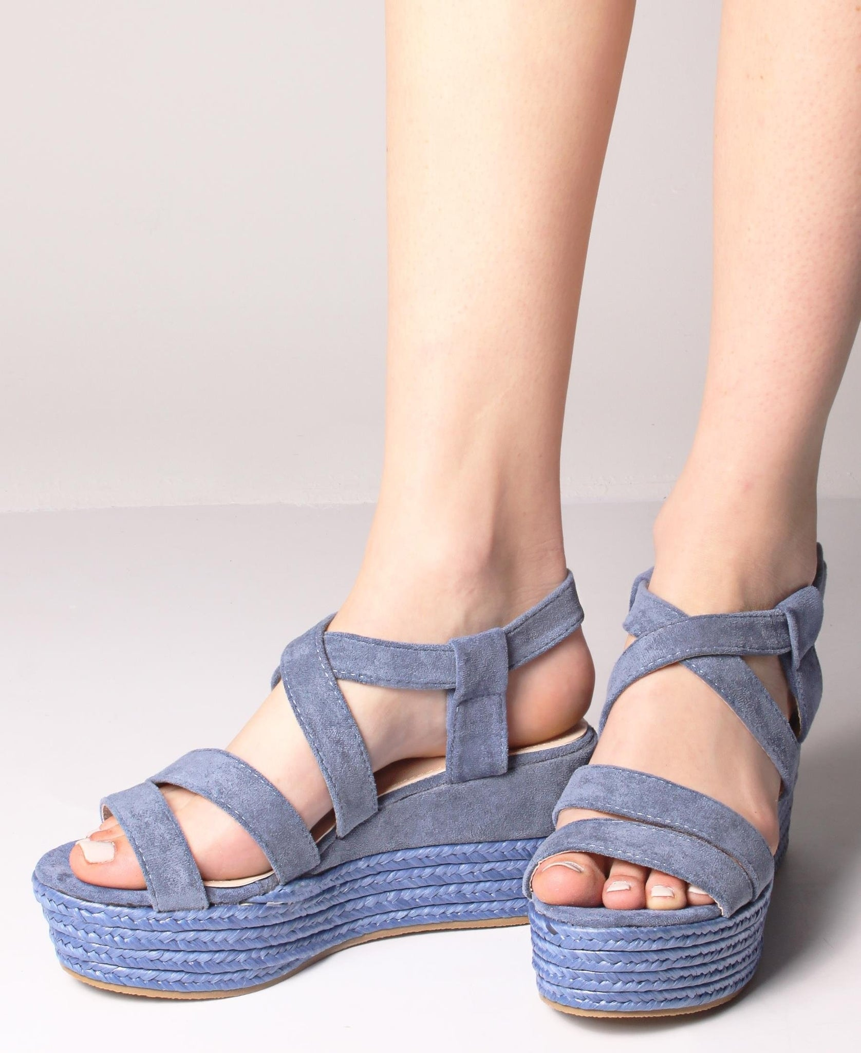 Espadrille Wedge Sandals - Blue