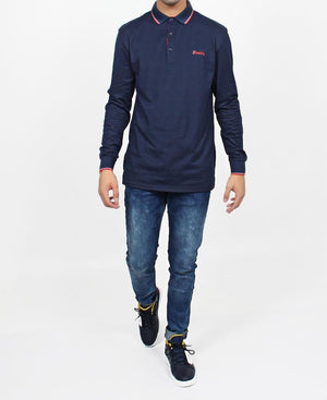 Men's Long Sleeve Golfer - Navy