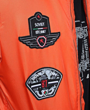 Bomber Jacket With Badges - Orange