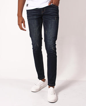Distressed Skinny Jeans - Navy