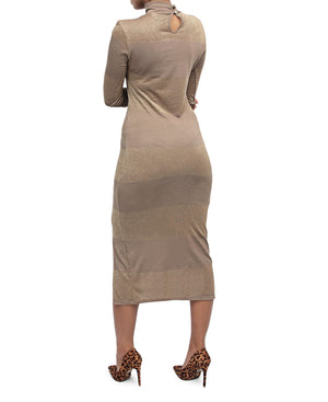 Ponti Slit Dress - Taupe