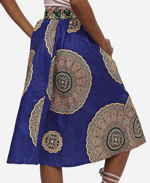 Ethnic Printed Skirt - Navy