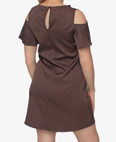 Cold Shoulder Dress - Brown
