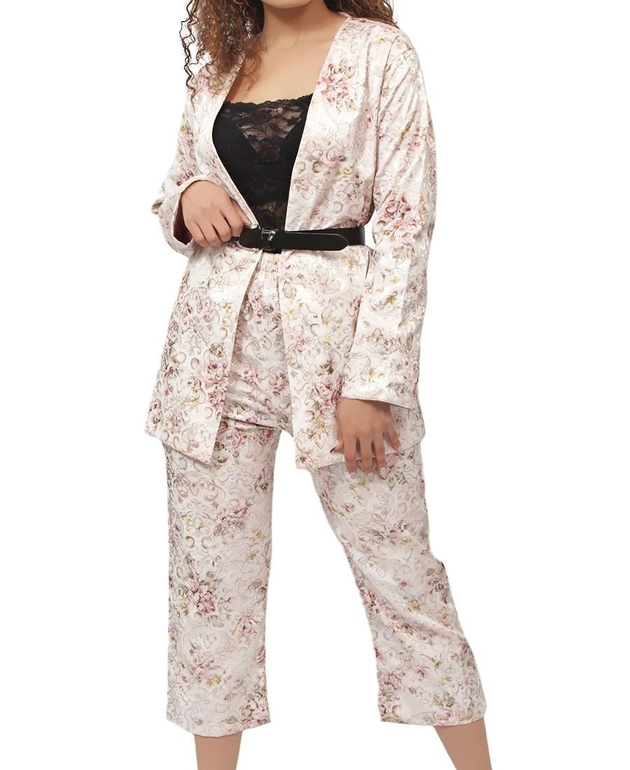 2 Piece Brocade Suit - Mink