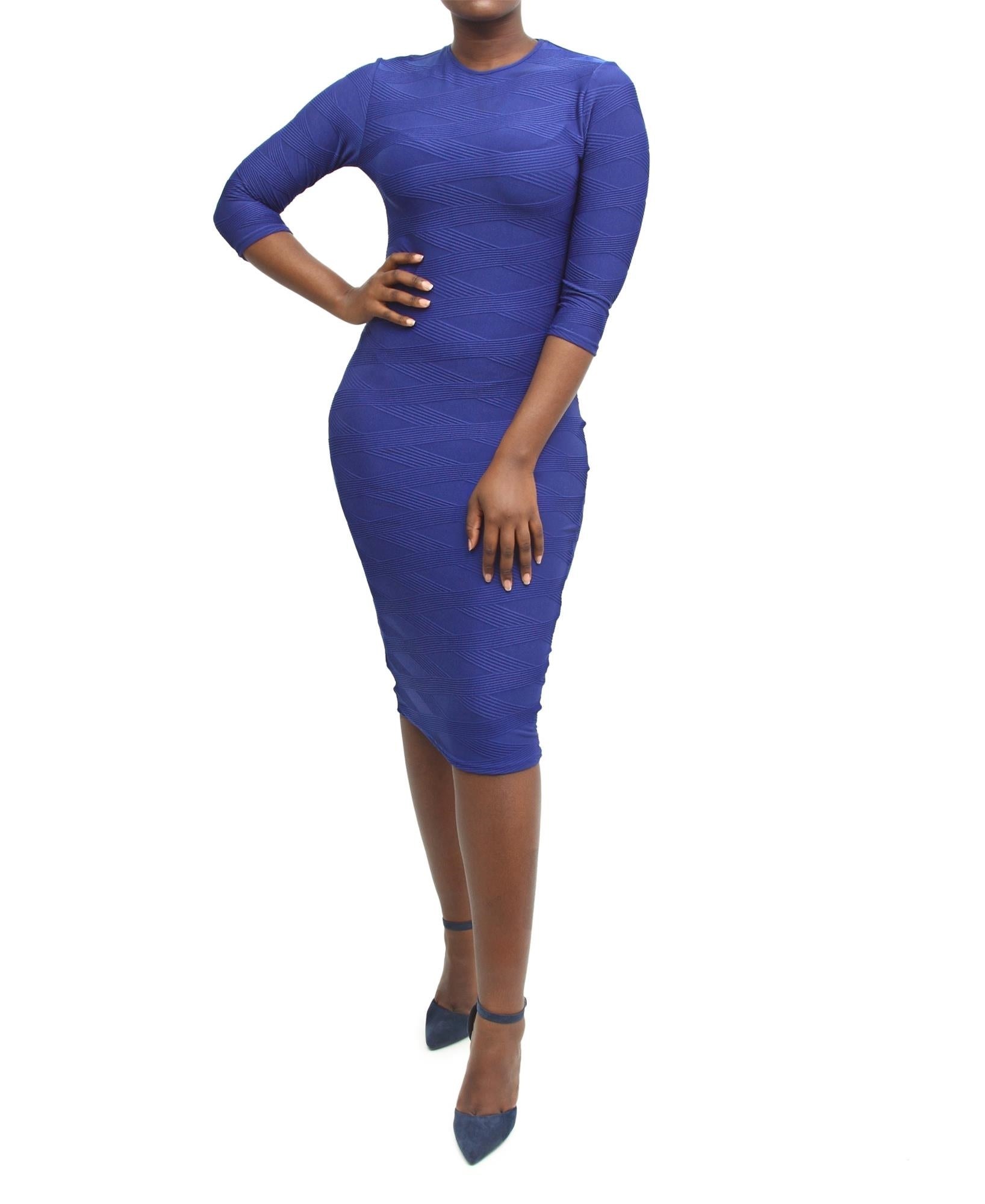 Rippled Ottoman Bodycon Dress - Blue