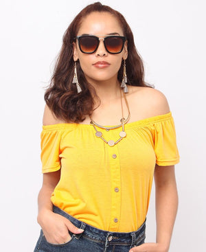 Off Shoulder Top - Mustard
