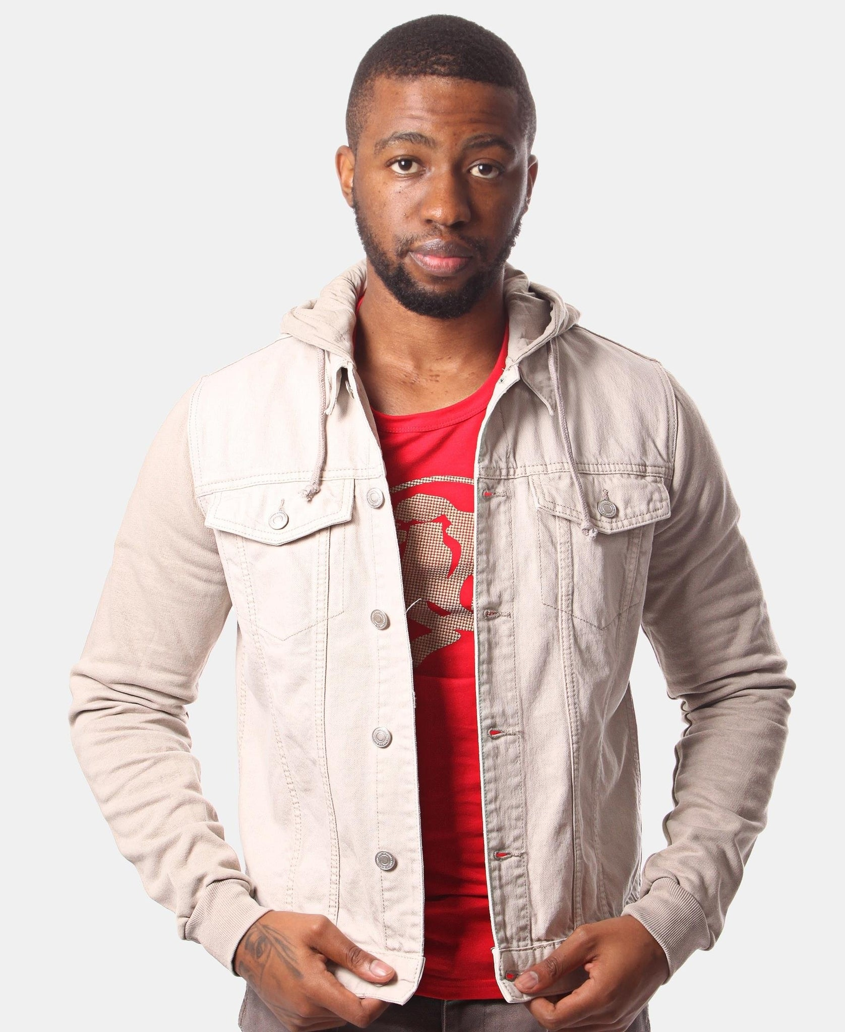 Men's Denim Hoody - Beige