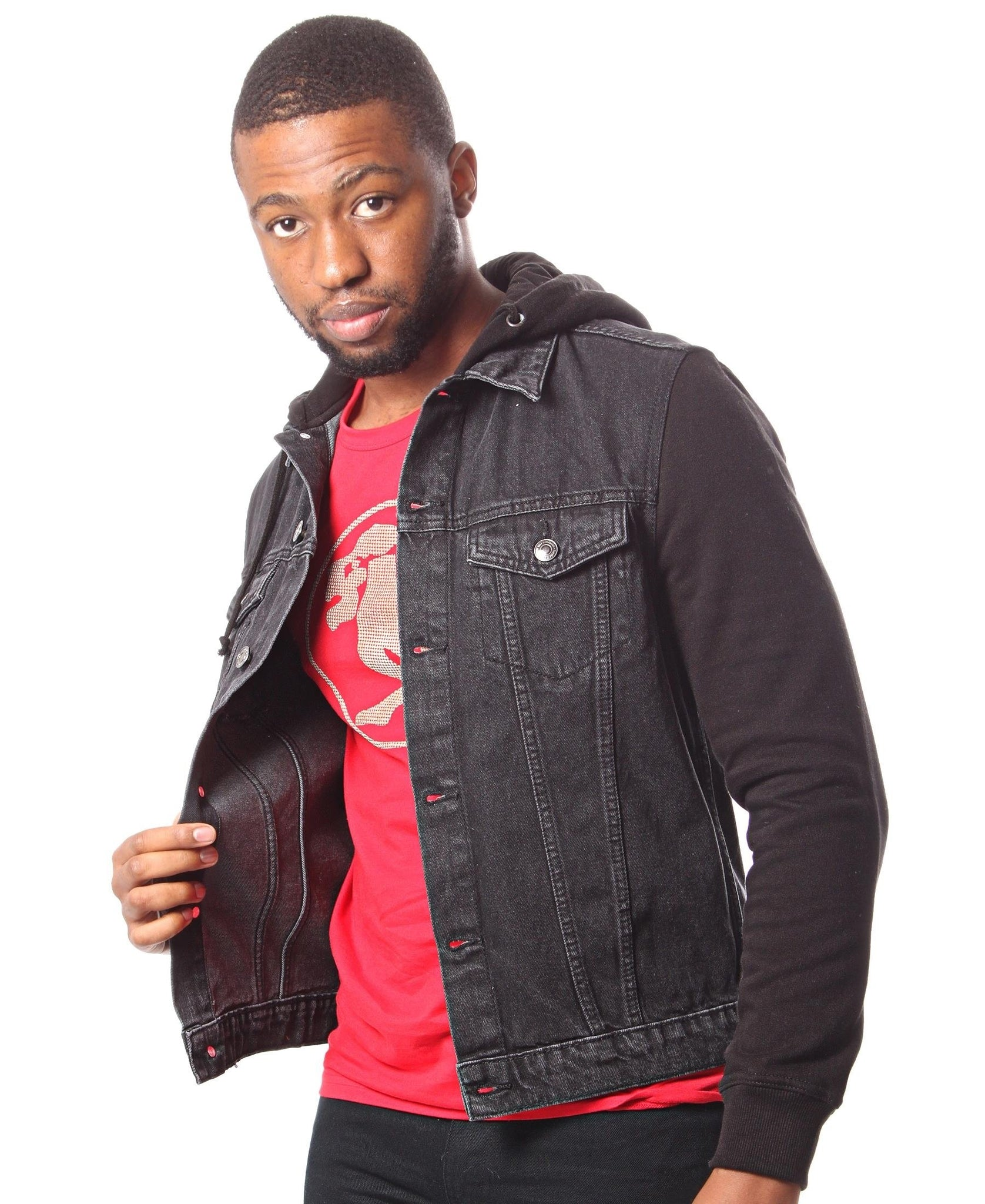 Men's Denim Hoody - Black