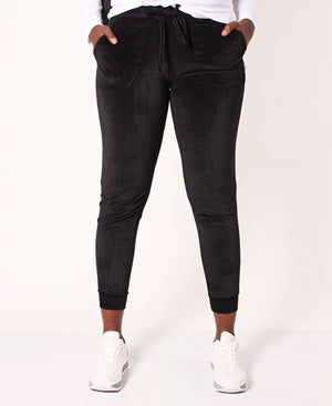 Corduroy Drawstring Stretch Joggers - Black