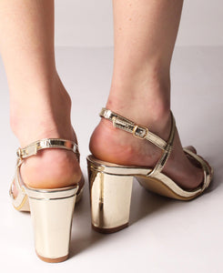 Front Strap Square Heel Sandals - Gold
