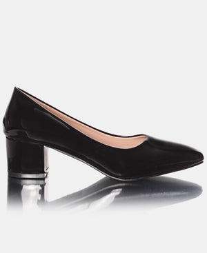 Patent Mid Heel Court Shoe - Black