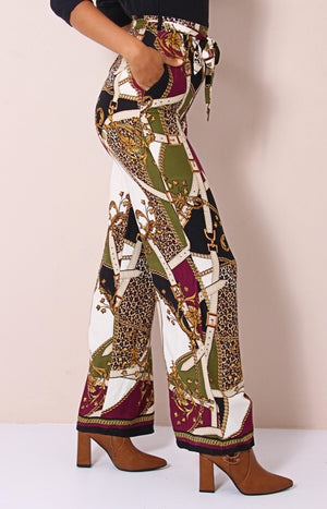 Printed Paperbag Pants - Multi