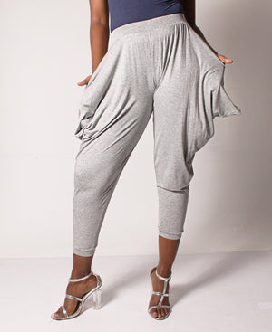 Cotton Knit Harem Pants - Grey