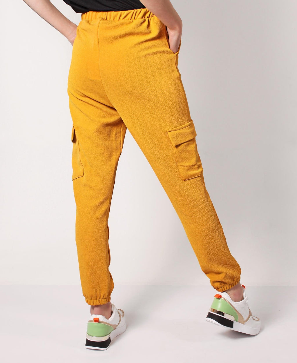 Ruched Ankle Jogger Pants - Mustard