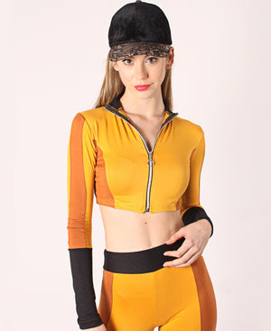 Crop Zip Up Loungewear Set - Mustard