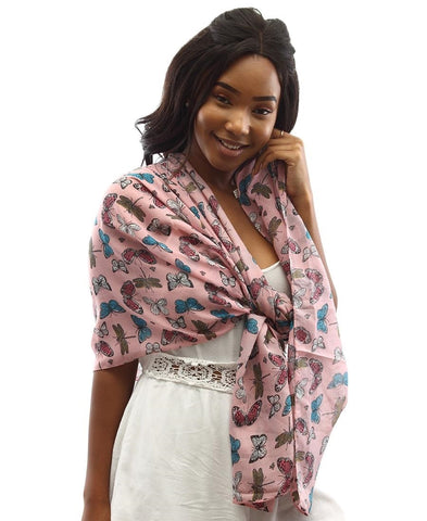 Butterfly Print Scarf - Pink