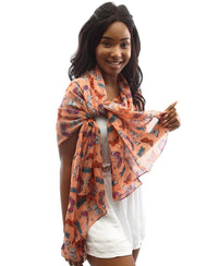 Butterfly Print Scarf - Orange