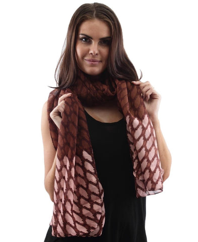 Ikat Print Scarf - Brown