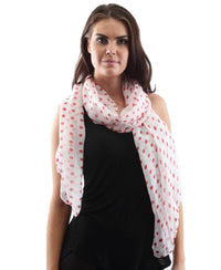 Polka Dot Print Scarf - Red
