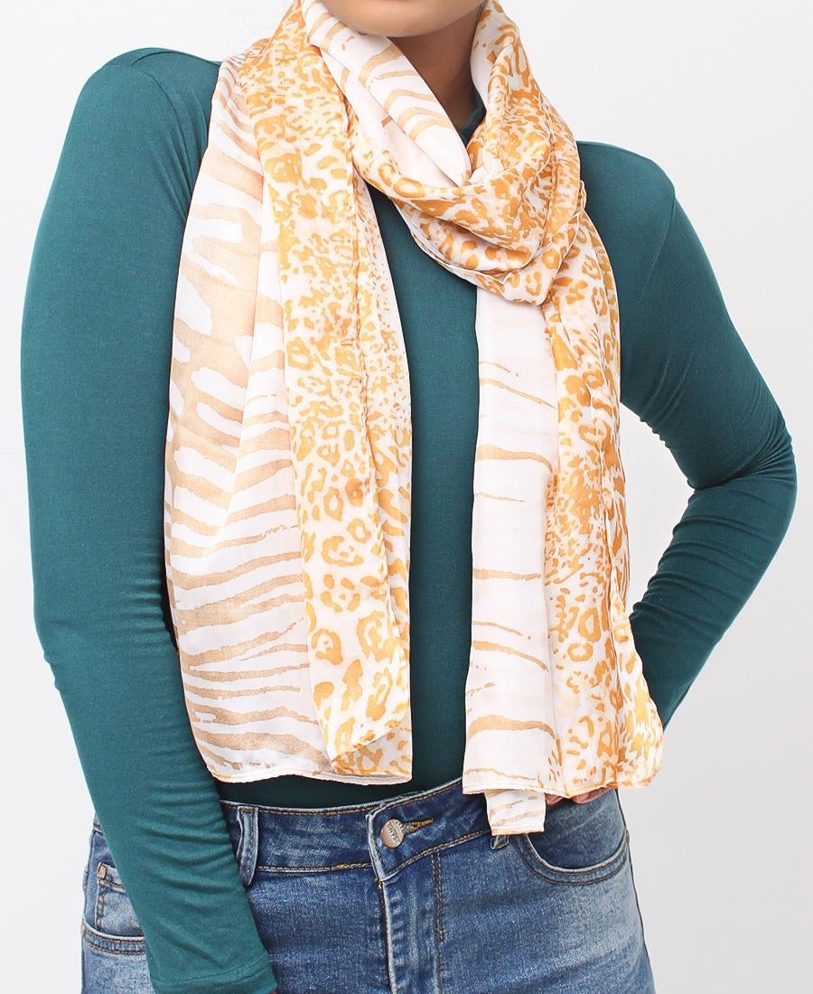 Animal Print Scarf - Taupe