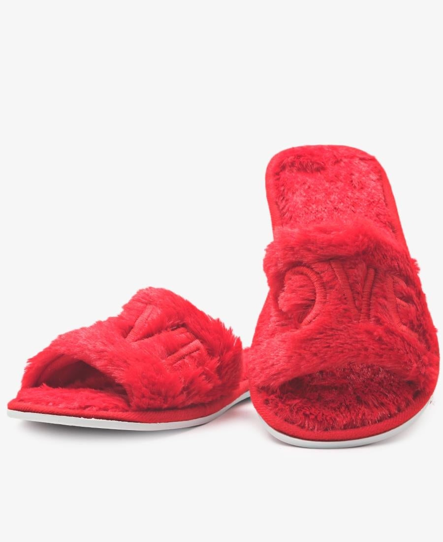Bedroom Fluff Slippers  - Red
