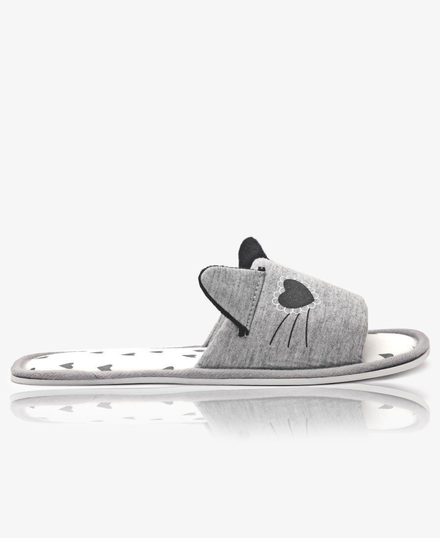 Bedroom Slippers With Ears - Grey