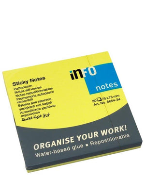 Info 75X75MM Sticky Notes - Yellow