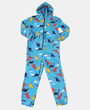 Kids Dino Onsie With Pocket & Hood - Light Blue