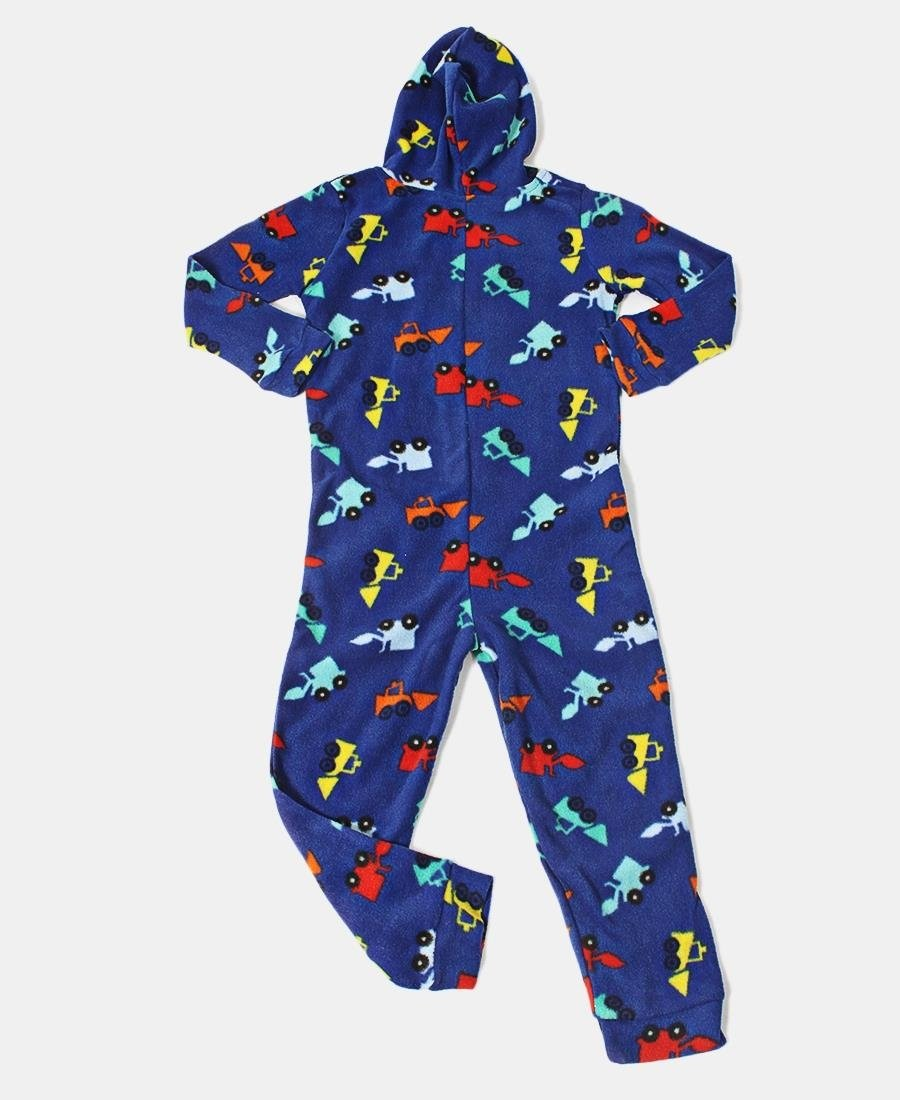 Kids Truck Onsie With Pockets & Hood - Blue