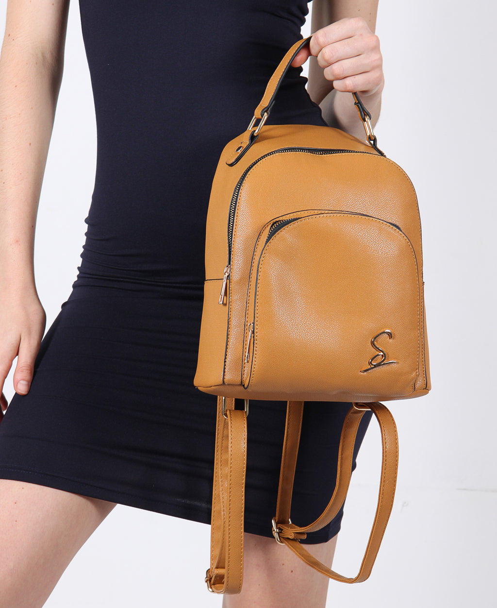 Double Compartment Backpack - Tan