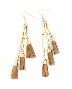Tassel Earrings - Tan