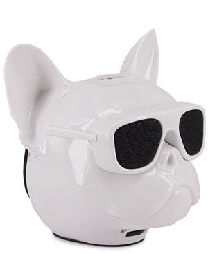 Mini Dog Head Bluetooth Speaker - White