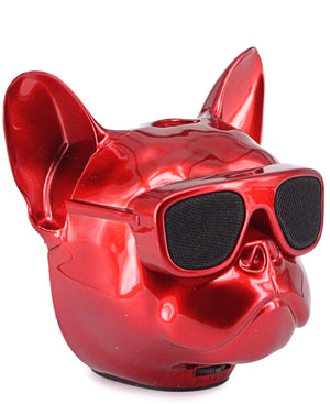 Mini Dog Head Bluetooth Speaker - Red