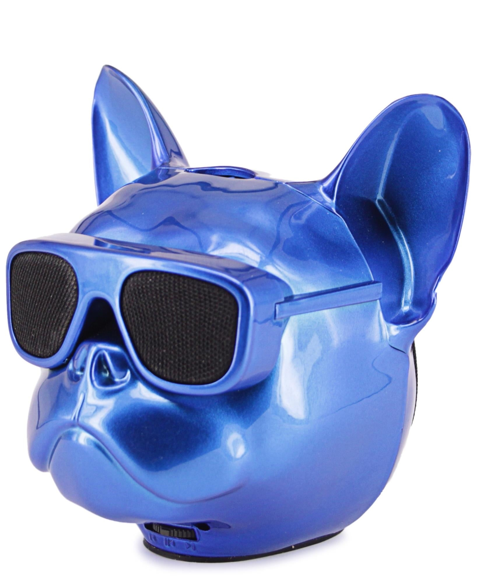 Mini Dog Head Bluetooth Speaker - Blue