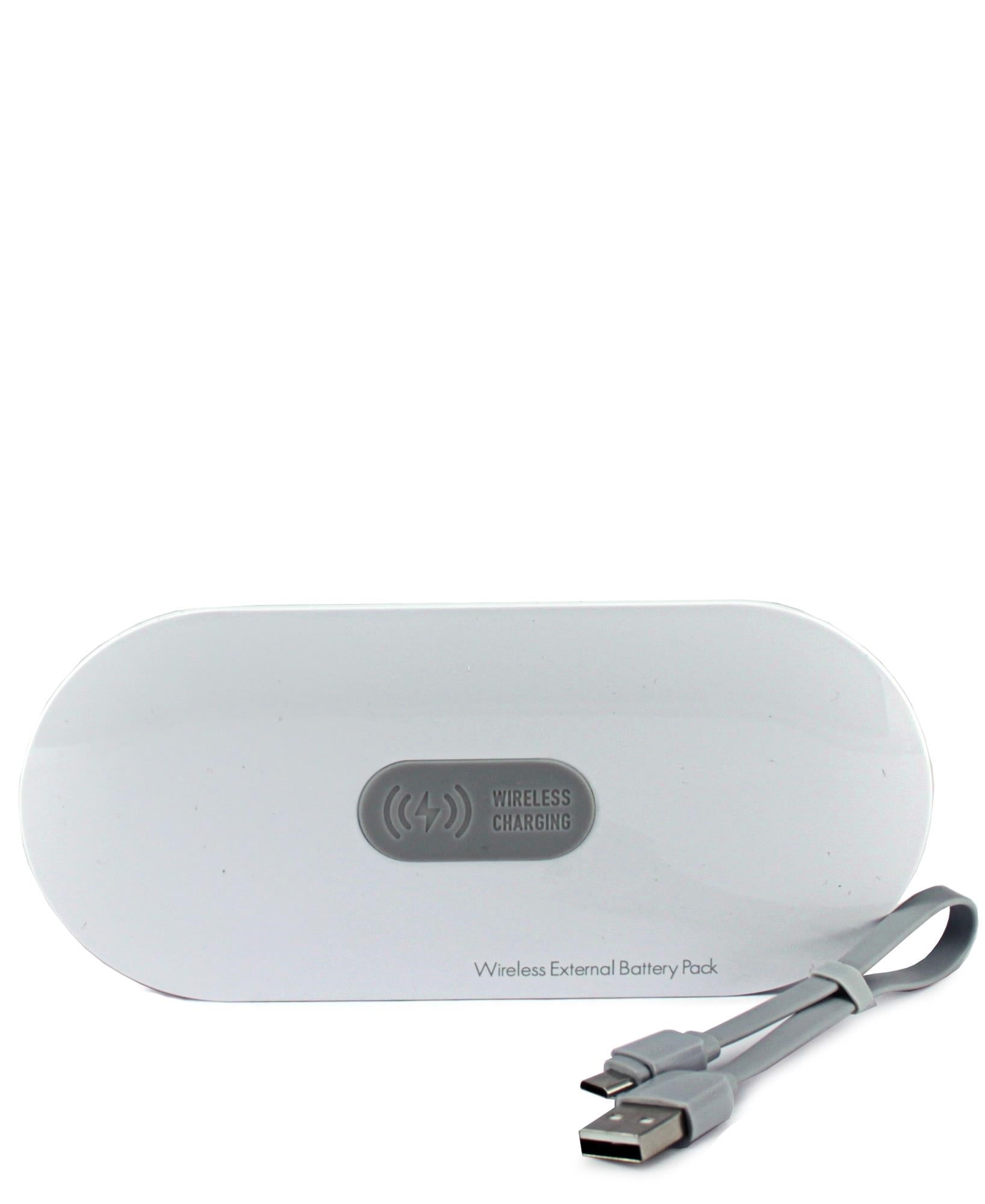 10000mAh Power Bank with Wireless Battery Pack - White