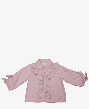 Girls Frill Top - Mink