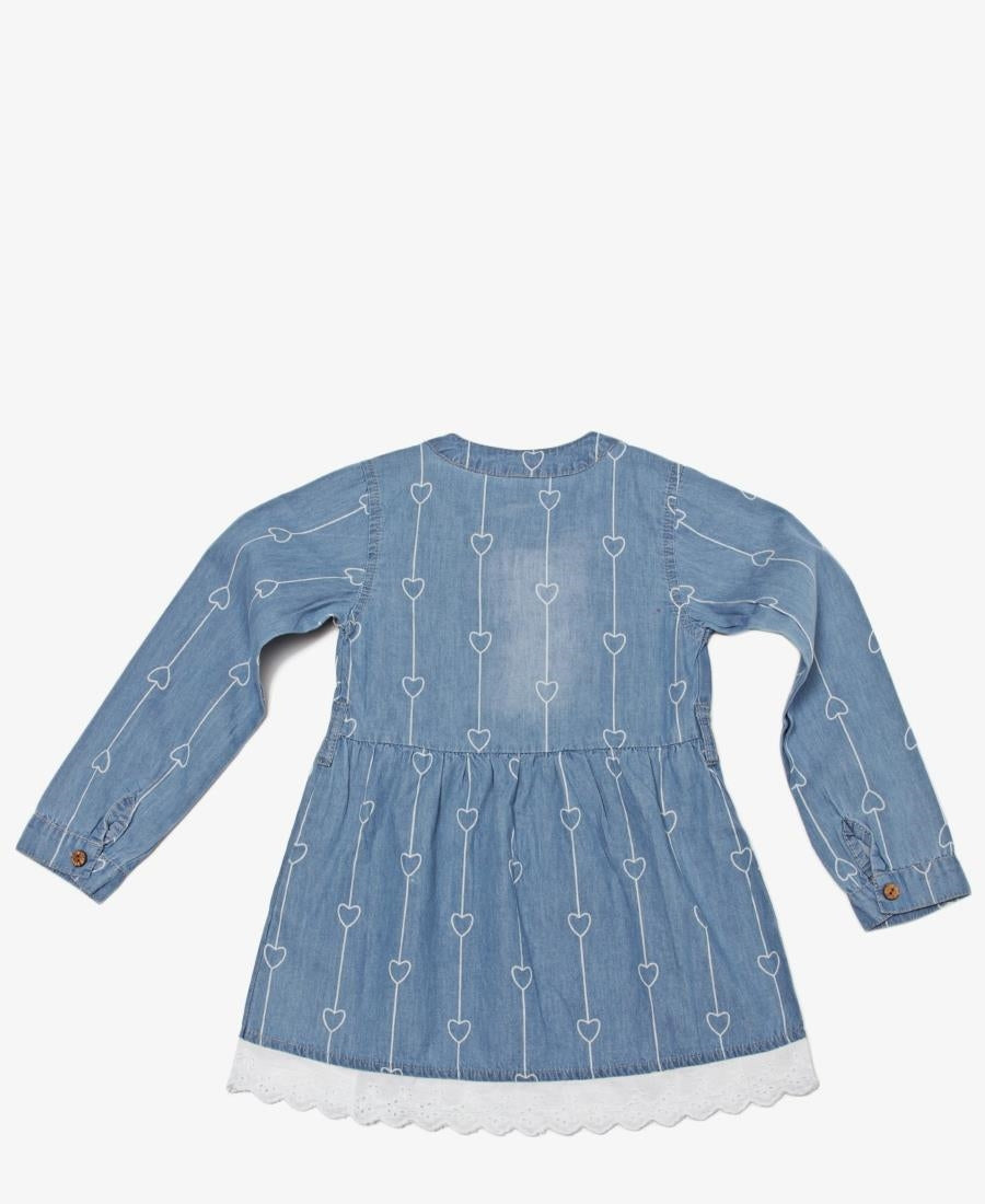 Girls Belted Dress - Blue