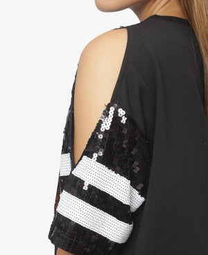 Sequins Open Shoulder Top - Black