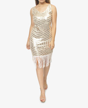 Sequin Evening Tassel Dress - Beige